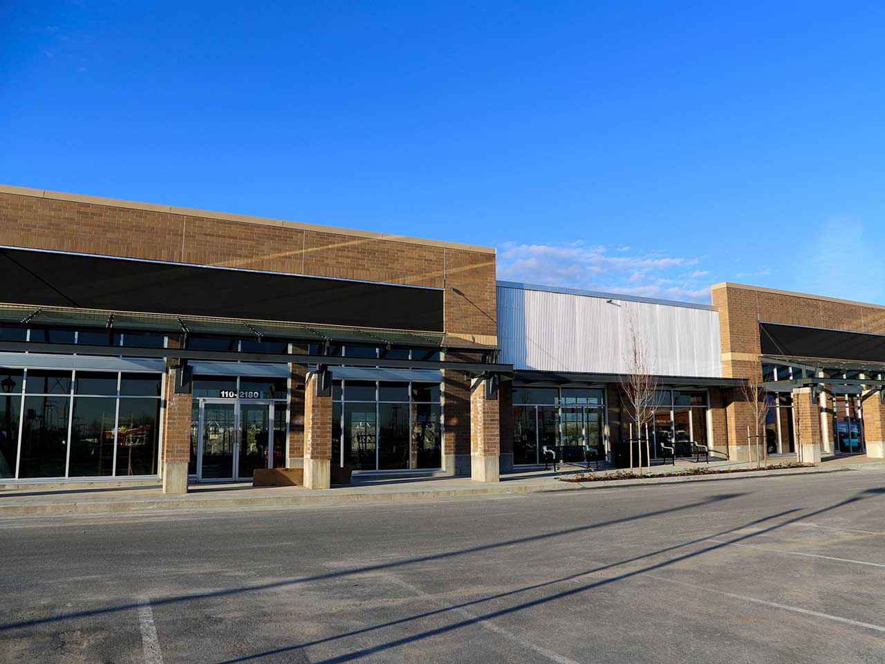 Commercial glass storefront in a new shopping center