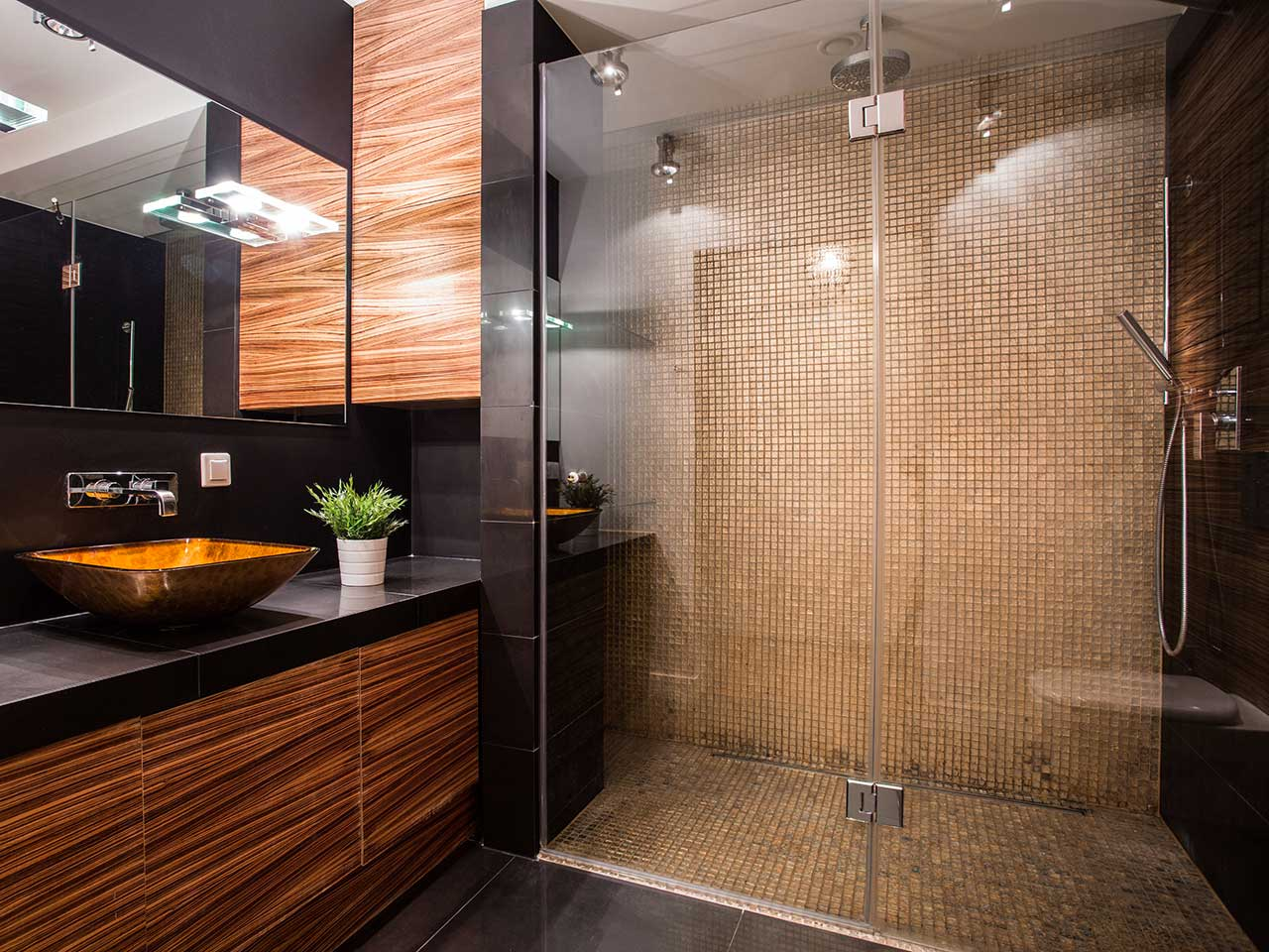 Modern bathroom with a frameless glass shower enclosure